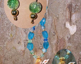 Mermaid Necklace and Earrings Sea Glass beads
