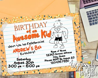 Diary of a Wimpy Kid Birthday, Diary of a Wimpy Kid Invitation,