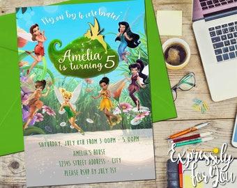 Disney Fairies Birthday Invitation, Tinkerbell Birthday Invitation, Fairy Birthday