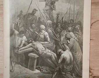 Christ Nailed to the Cross - Vintage Bible Lithograph Print