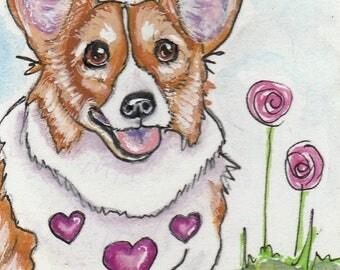 ACEO corgi art - original corgi drawing - corgi painting - original art - Valentine's Day - miniature art - small format art - dog animal