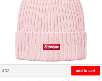 Supreme Overdyed Ribbed Beanie (Light Pink)
