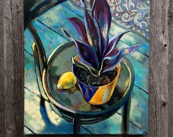 Painting. House plant. 50x60 cm, oil, canvas.Original.