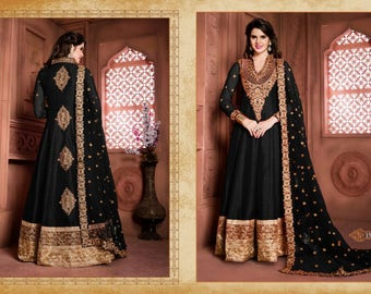 salwar kameez | Party Wear Semi Stitched  Black Salwar kameez