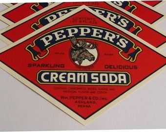 9 PEPPER'S Cream Soda Labels MOOSE LOGO