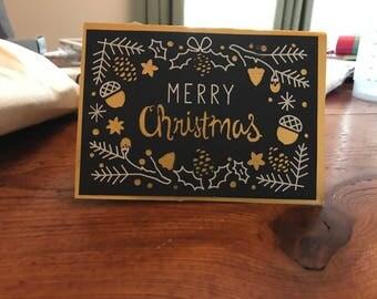 Gold & Black Christmas Card