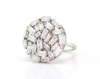 Sterling Silver CZ Baguette Ring