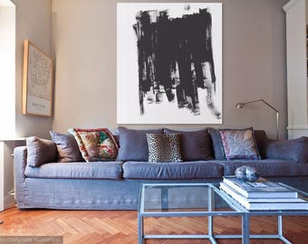 Extra Large Abstract Contemporary Modern Black and White Oil painting on stretched canvas 56 x 44 inch (1118 x 1422 mm). Ready to hang.
