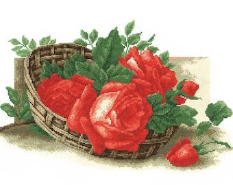 Cross-stitch Roses