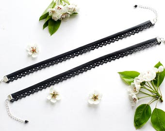 Openwork Leather Necklace Black Leather Choker Necklace|for|Woman Gift under 10 Gift Idea|for|Girlfriend Summer Jewelry Cute Gift|for|Girl