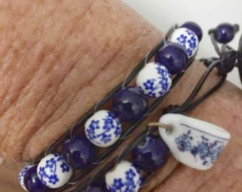 double wrap leather beaded bracelet