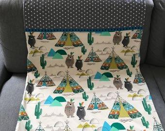 Stroller blanket, blankie baby blanket • Indian bears •