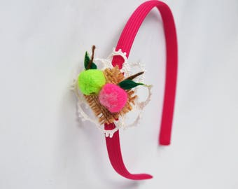 Headband with felted apples Pink headband Girls headband Fresh green Hot pink