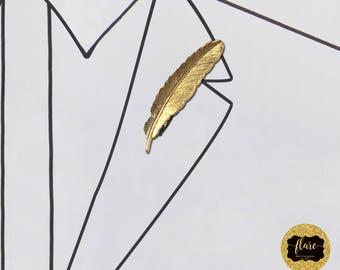 The Alexander Lapel Pin: Men's Fashion Accessory w/ Gold Feather Accent. Perfect for Weddings, Formals, Proms and Special Occasions.