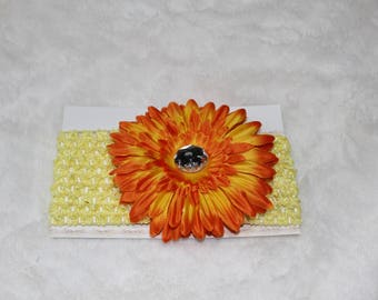 Baby/Toddler Yellow & Orange Gerber Daisy Crochet Headband with Silver Rhinestone