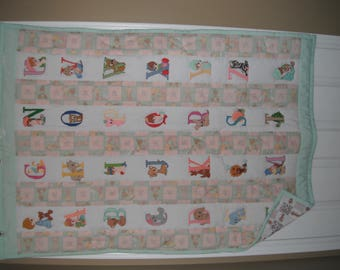 Precious Moments Animals alphabet baby quilt