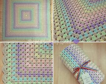 "Pastel Rainbow Baby Blanket. 36"" square. Unisex. Handmade. Acrylic yarn. Crochet. Newborn. Christening. Baby shower. Gift. Present."