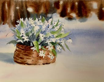Watercolor. Original art. Flowers on the snow