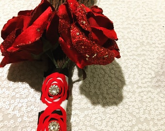 Chic Roses Wedding Broom Red, Black, and White Wedding Handmade 36' Long striped with Roses