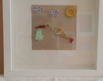 Baby shower, 3D, paper quilled, wall art, wooden frame