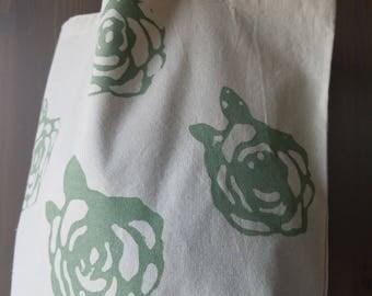 Rose Pattern Market Bag / Farmer's Market Bag / Flower Screenprint/ Printed Grocery Bag / Go Green / Reusable / CATHEAD / Made in the USA