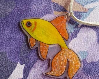 Sparkly Plastic Yellow & Orange Fish Pendant