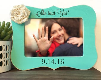 She said Yes Personalized Picture Frame Gift // Engaged Announcement // Wedding // Getting Married