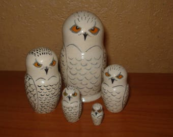 Set of 5pc hand painted wooden russian matryoshka nesting dolls SNOWY OWLS