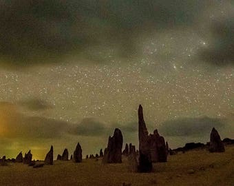 The Pinnacles starry night digital photography/print, astrophotography print, stars