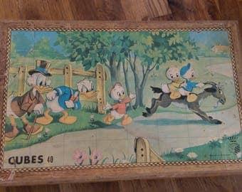 French Disney Vintage Jigsaw Puzzle Blocks