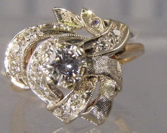 Antique CC 1930 Diamond Ring, 0.59 carats, 14k White and Yellow Gold, Total Weight 4.85 grams, Size 6, Vintage, Estate, Cocktail, Cluster