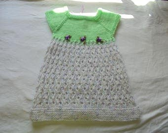 Crochet Baby Summer Dress Green with mulitcolored bottom