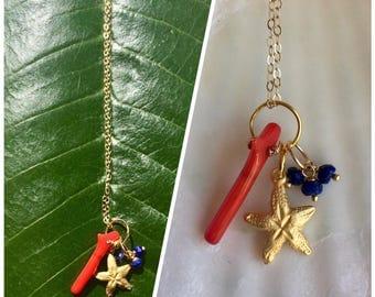 Red coral and lapislazuli starfish charm necklace( starfish series #27)