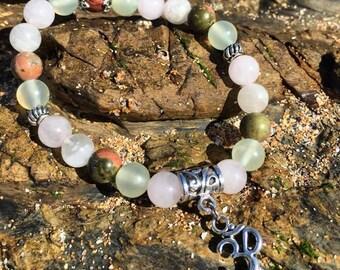 Fertility & Pregnancy Bracelet: Moonstone, Rose Quartz, Unakite, Jade, OM, Silver, Stretch Bracelet