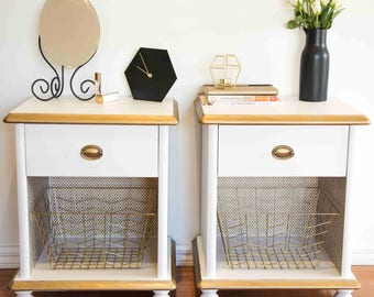 Set of Two White & Gold Bedside Tables / Nightstands