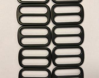 """3 Bar Slider Black Anodized Metal 1 1/2"""" For Webbing Or Straps 10 Pack"""