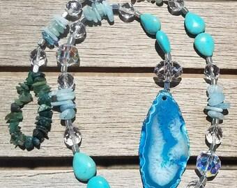 SunCatcher Jasper, Magnesite and Aquamarine with Swarovski Crystal beads--Rainbows
