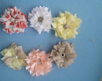 6 Fancy Shabby Chic fabric flowers/weddings