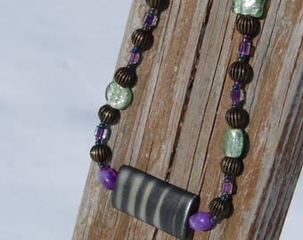 Classic Brown, Purple and Green Beaded Necklace