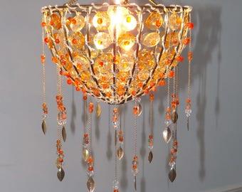 Orange Carnelian Crystal Gemstone Ceiling Light Shade, Chandelier Lighting, Healing Pendant, Ceiling Lamp, Dream Catcher, Shabby Chic Decor