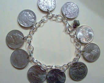 Historical U.S. Nickels on a Bracelet