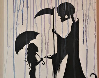 Death and Innocence Silhouette Watercolor Painting