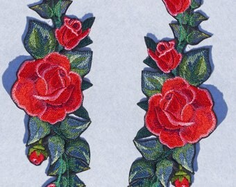 "Embroidered iron patch ""Two red roses"""