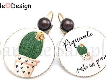 Earrings Cactus green heart - spicy just a little