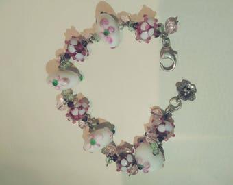 Sterling silver OOAK lampwork glass beaded floral bracelet