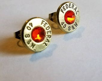 Bullet earrings 40 S&W Sunburst Orange!