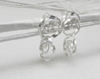 TWisT - matte silver earrings, double