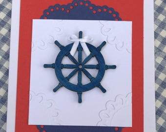Father's Day card with nautical detail in red, blue & white ~ (boating, fishing, sailing)
