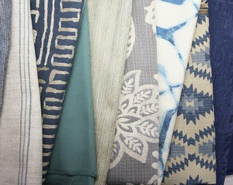 Upholstery/Decorative Woven Fabric Bundle - 10 Different Yard Cuts - Blue's/Teal's