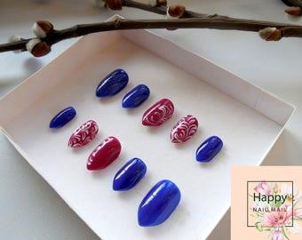 Blue Stiletto nail|nail art|Acrilic nails|Short square nails|Press On Nails|Glue On Nails|Blue nails|Hand painted nails|Lavender nails